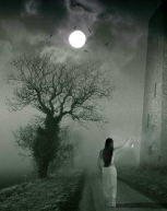 Girl-in-Fogy-Moon-Night